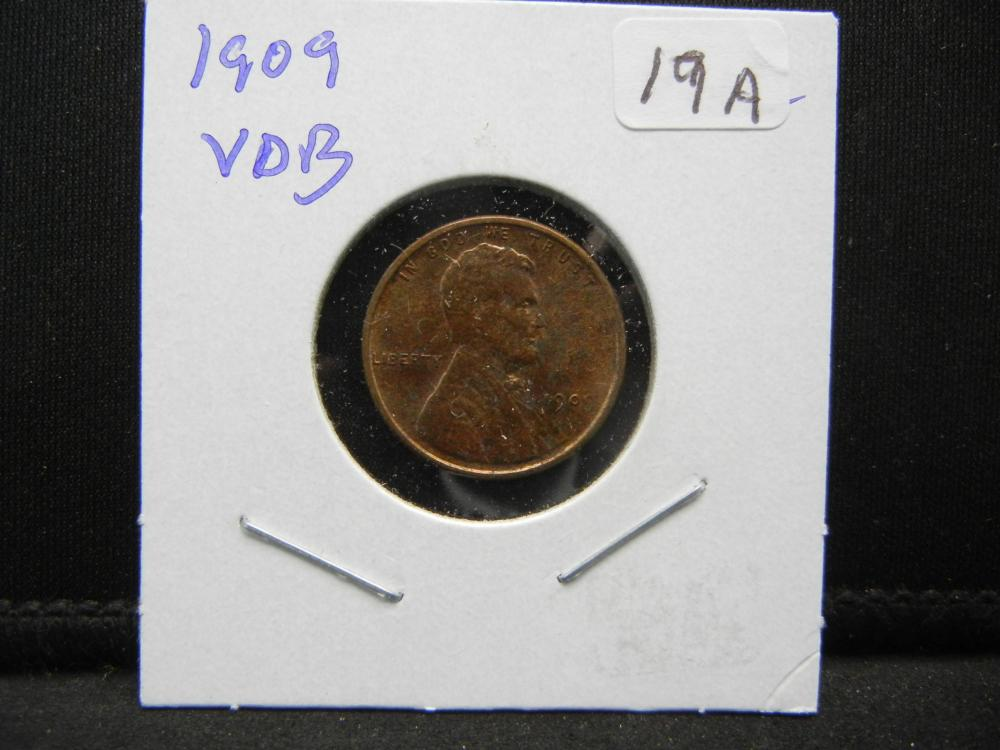 Lot 19A: 1909 VDB Lincoln Cent. Uncirculated.