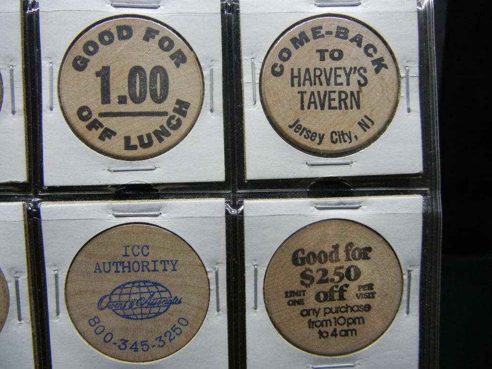 Lot 8A: (20) Vintage Wooden Nickels—some much higher dollar. Food, Bars, and Coin Shows.