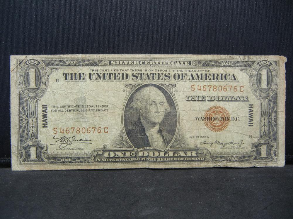 1935 A $1 Silver Certificate.  Hawaii Emergency Currency.  Fine