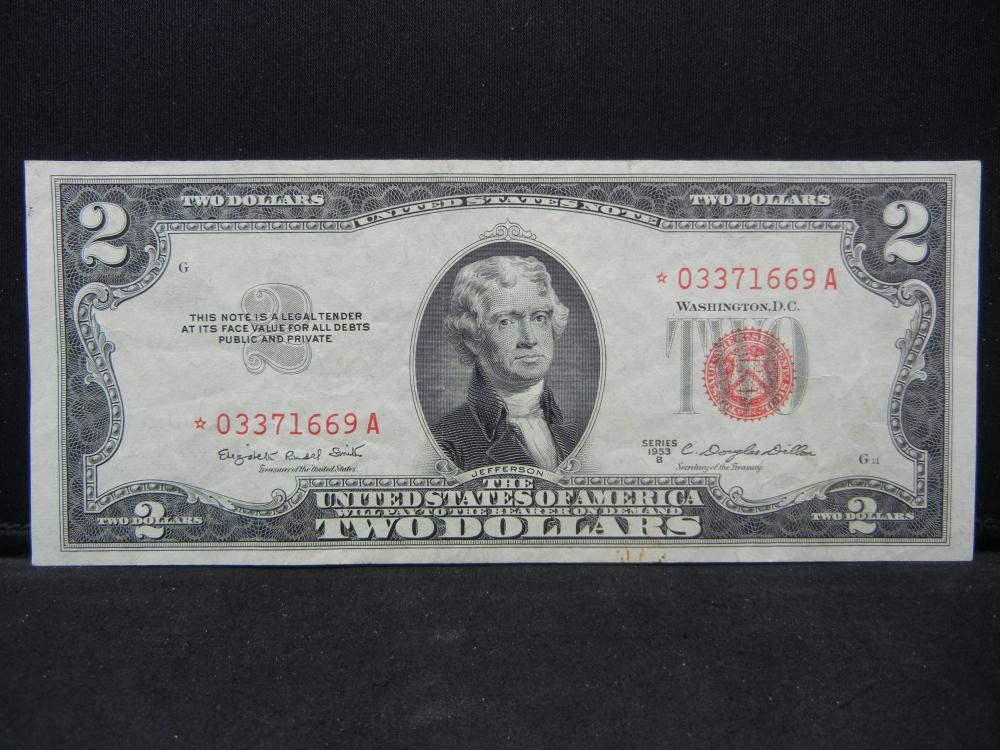1953 B $2 Red Seal.  A STAR Replacement Note.  Nice XF.  Low SN