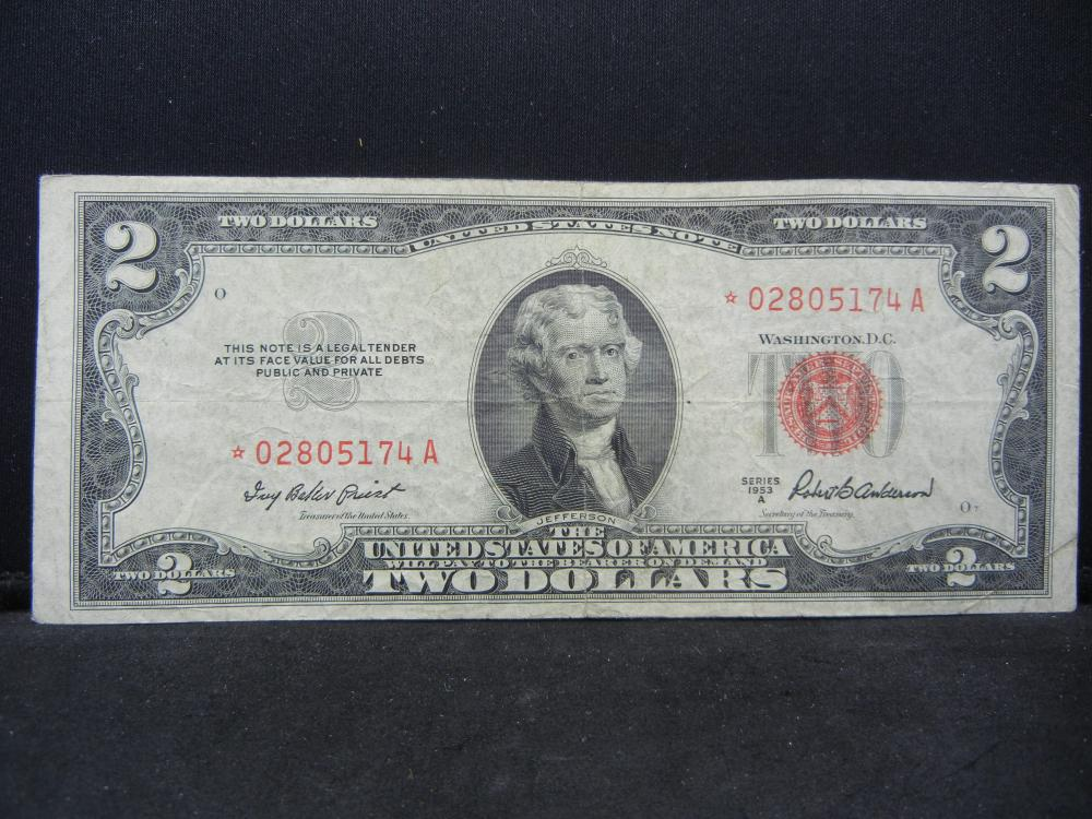 1953 A $2 Red Seal.  A STAR Replacement Note.  Nice VF.  Low SN
