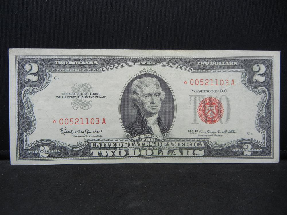 1953 $2 Red Seal.  A STAR Replacement Note.  Nice XF.  Low SN