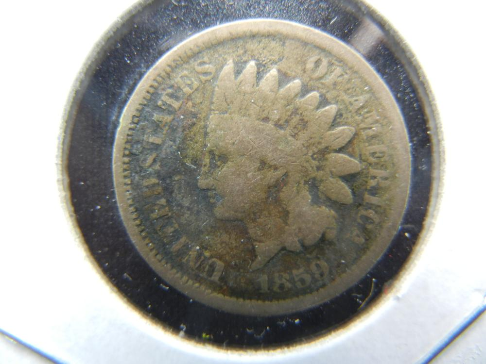 1859 Indian Head Cent  VG detail.
