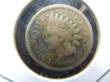Lot 18A: 1859 Indian Head Cent VG detail.