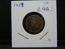 Lot 18A: 1859 Indian Head Cent VG detail.