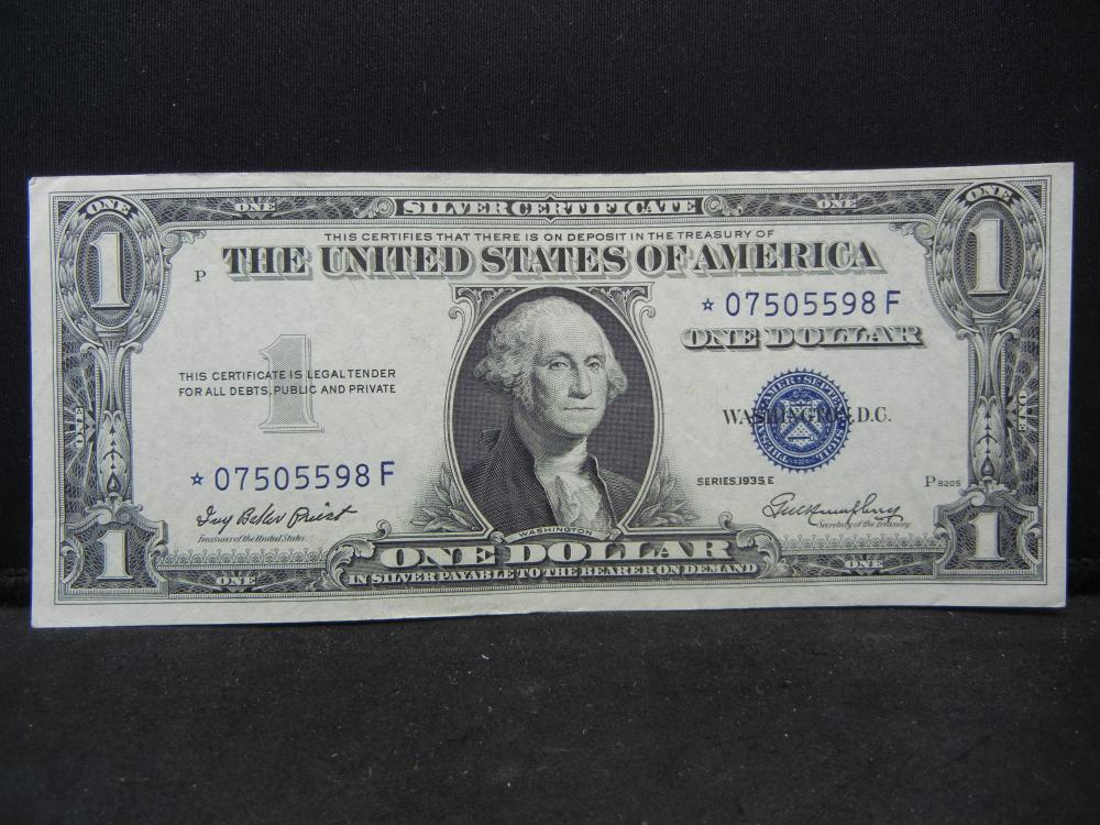 1935 E $1 Silver Certificate.   STAR Replacement Note.  Choice Crisp Unc.  Difficult.
