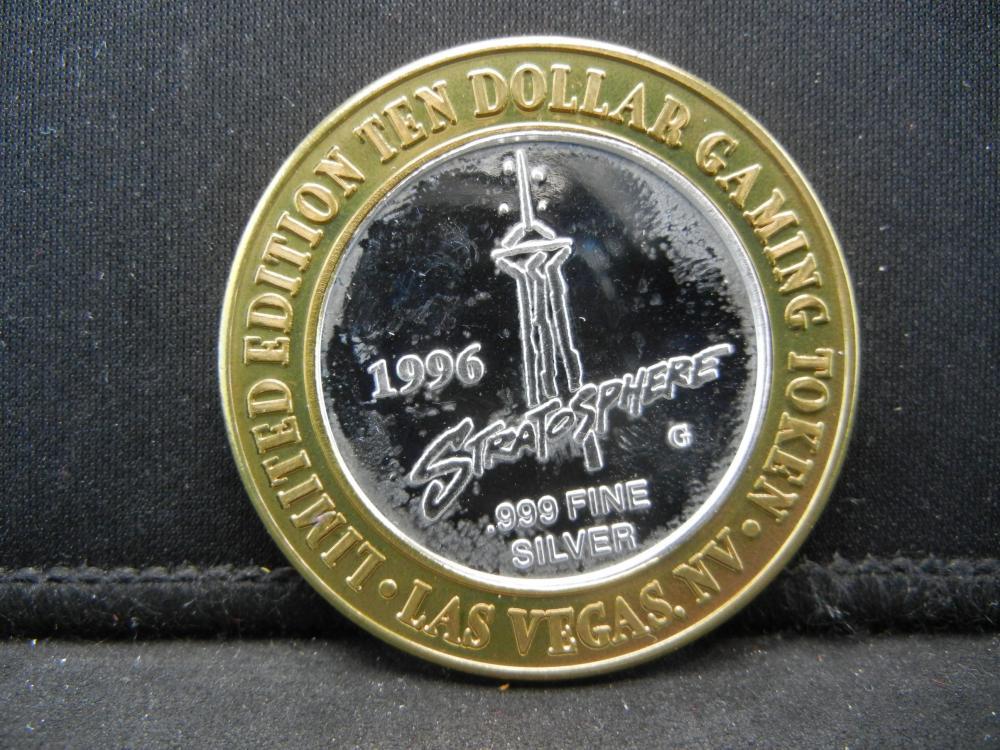 Lot 48B: 1996 Stratosphere $10.00 Las Vegas Gaming Token .999 Fine Silver High Roller