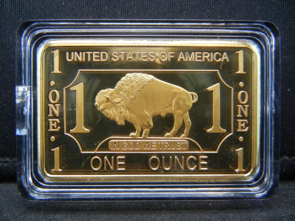 Lot 65C: CLAD GOLD BUFFALO,100 MILS .999 FINE GOLD CLAD, 1 OUNCE, PROOF, Encapsulated For Future Preservation!