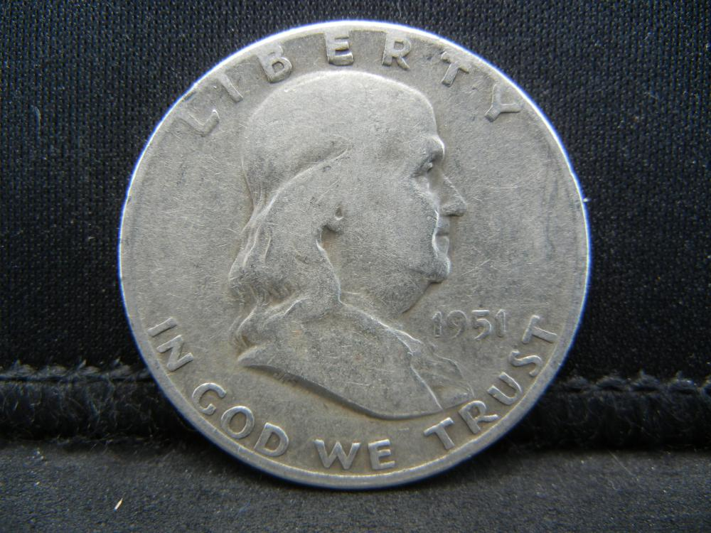 Lot 60C: 1951 SILVER LIBERTY (90%) HALF, ONLY 16.8 MILL MINTED, 68 YRS OLD, INCREDIBLE COIN!