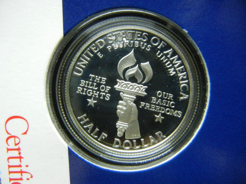 Lot 7Y: 1993 US Mint Bill of Rights 90% Silver Half Dollar