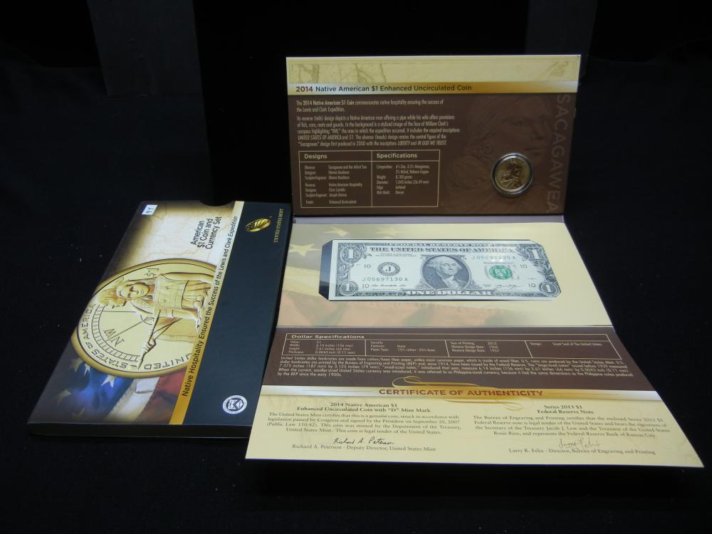 2014 US Mint American $1 Coin & Currency Set - Lewis & Clark