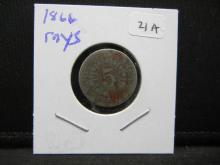 Lot 21A: 1866 RAYS Shield Nickel.