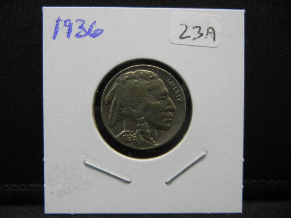 Lot 23A: 1936 Buffalo Nickel. Extremely Fine.