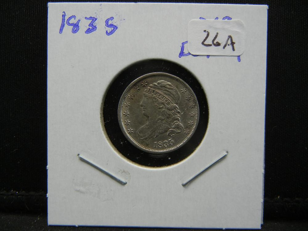 Lot 26A: 1835 Capped Bust Dime. Extremely Fine Detail.