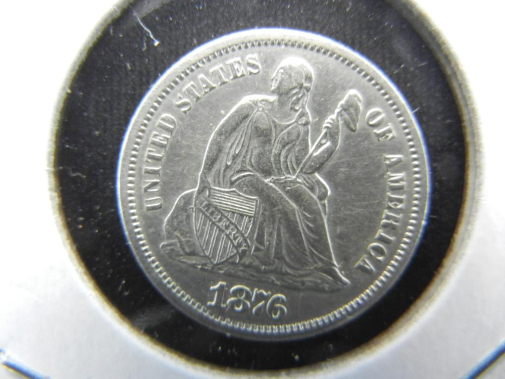1876-S Seated Dime.  Almost Uncirculated.