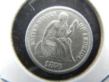 Lot 28A: 1876-S Seated Dime. Almost Uncirculated.