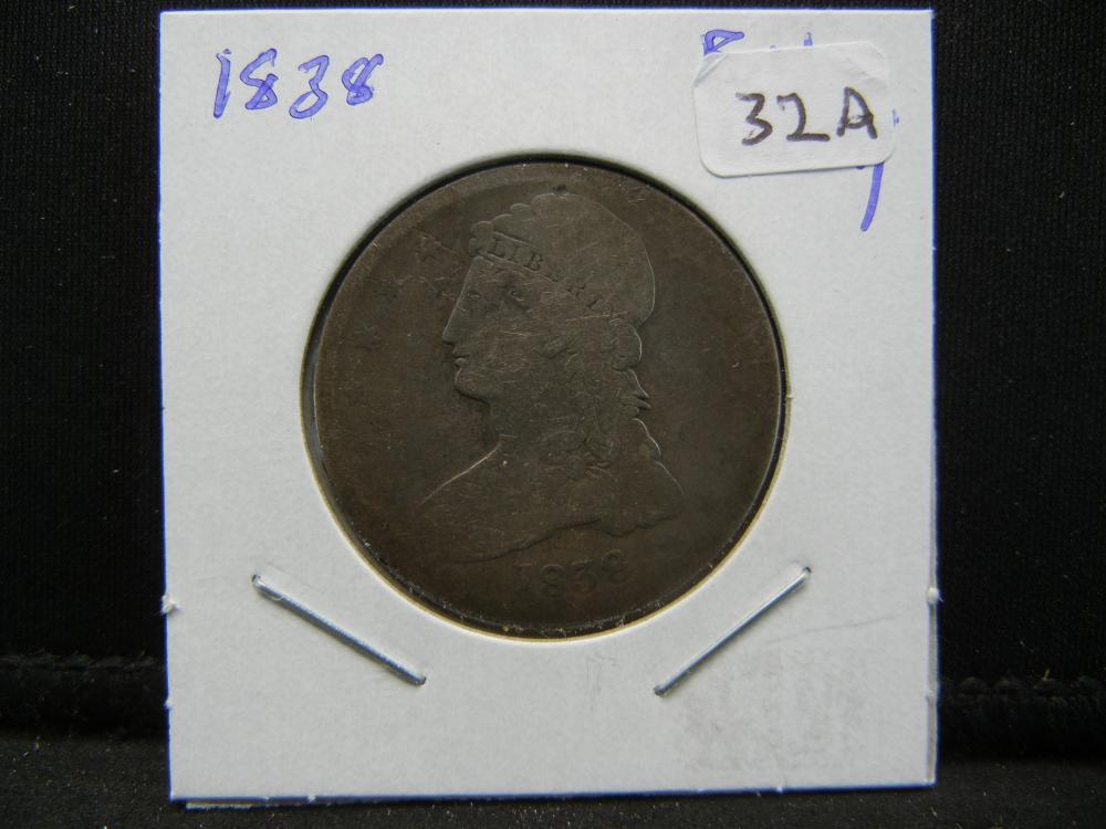 Lot 32A: 1838 Capped Bust Half. Reeded Edge. Full Liberty.