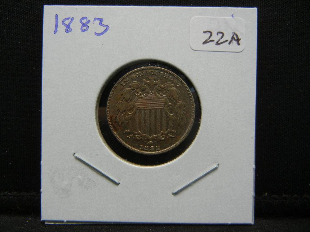 Lot 22A: 1883 Shield Nickel. Almost Uncirculated.