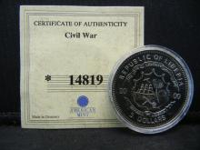 Lot 70C: AMERICAN CIVIL WAR COIN, (CERTIFICATE OF AUTHENTICITY/COA), UNCIRCULATED, LOW MINTAGE, OWN HISTORY, NICE GIFT!