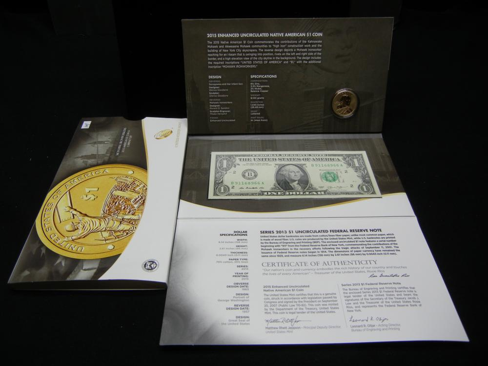 2015 US Mint American $1 Coin & Currency Set - Mohawk Ironworkers