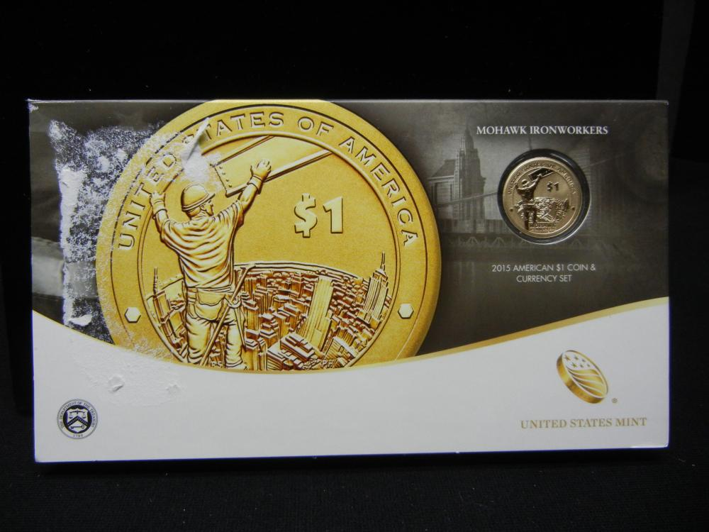 Lot 10Y: 2015 US Mint American $1 Coin & Currency Set - Mohawk Ironworkers
