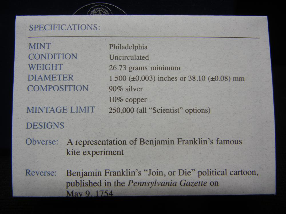 Lot 12Y: US Mint 2006 Benjamin Franklin Commemorative $1 Silver Coin