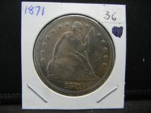 Lot 36: 1871 Seated Dollar. Extremely Fine 45 detail.