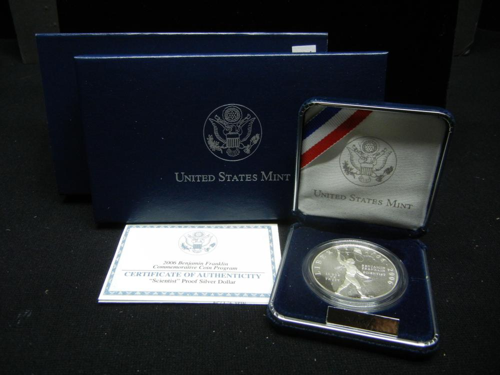 US Mint 2006 Benjamin Franklin Commemorative $1 Proof Silver Coin