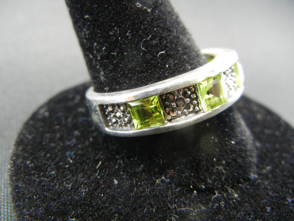 Lot 38: Man's sterling Ring. Marcasite with citrines. Size 11.