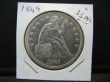 Lot 35A: 1849 Seated Dollar. Very RARE. Almost Uncirculated detail.