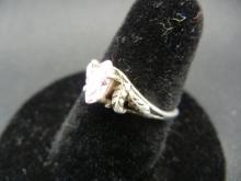 Lot 40A: Ladies Sterling Ring with pink crystal stone. Size 7.5.