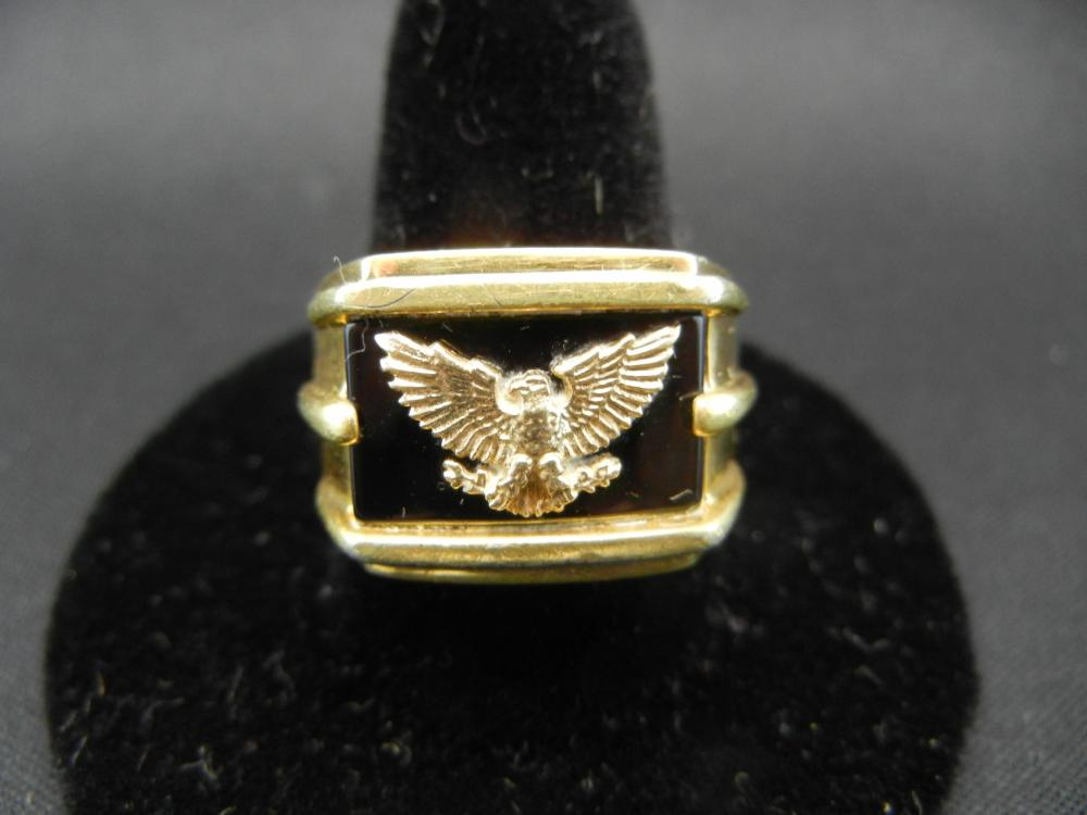 Lot 36Y: 24k over Sterling Ring With 14k Solid Gold Eagle - Size 10 - Heavy!