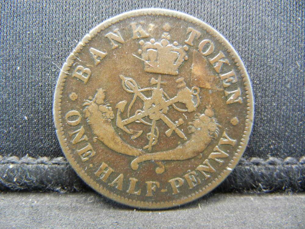 Lot 43Y: 1857 Canada Half Penny Token - Dragon Slayer