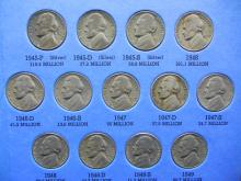 Lot 16Y: 1938-1961 Jefferson Nickel Collection - Complete Set