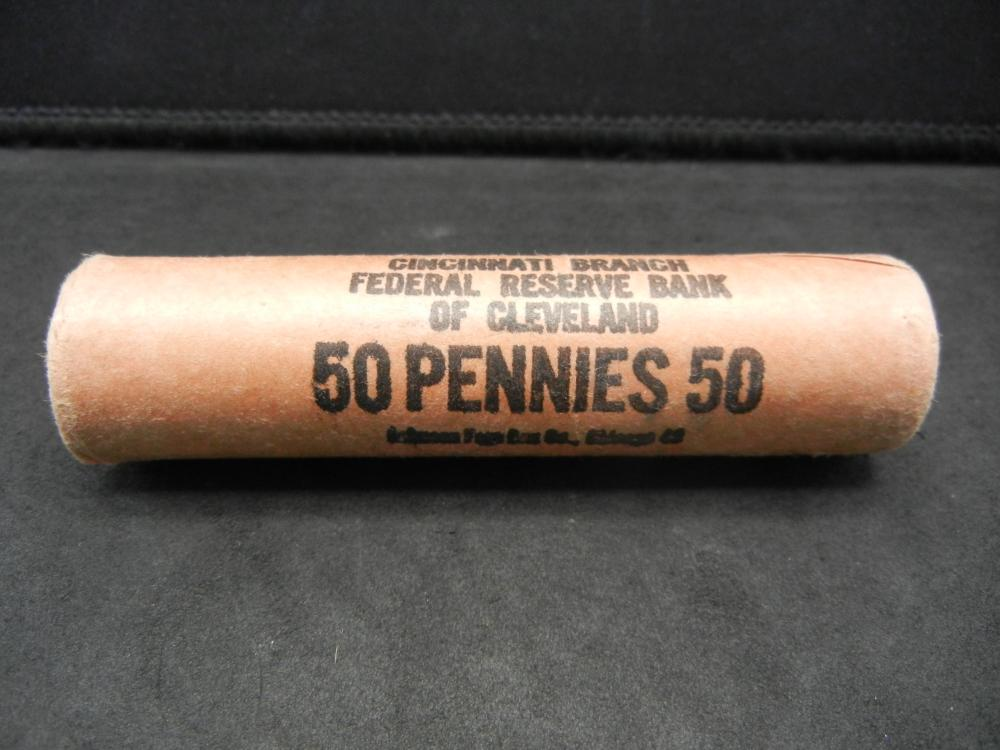 Lot 45: (50) coin shotgun roll of 1962-D Lincoln Memorial Cents. Red Brilliant Uncirculated.