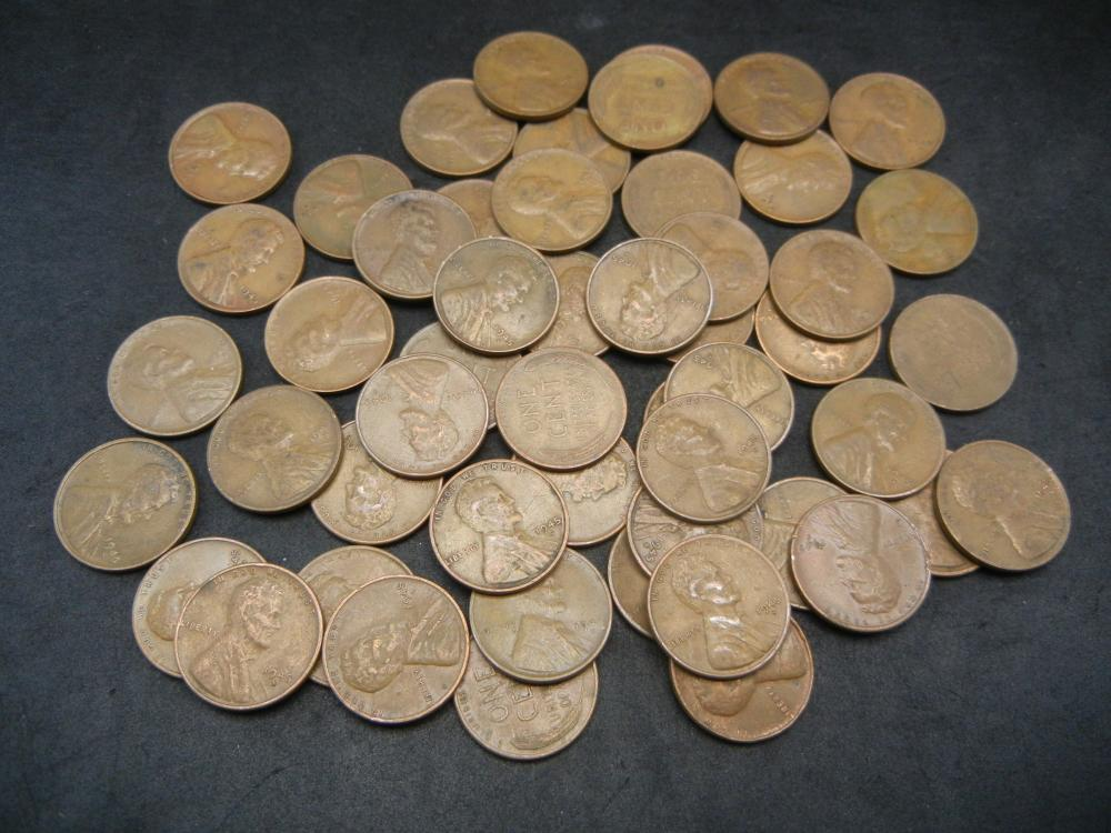Lot 46: 1944-S and 45-S 50-coin rolls of Wheat Cents. WWII vintage. Nice Circulated.