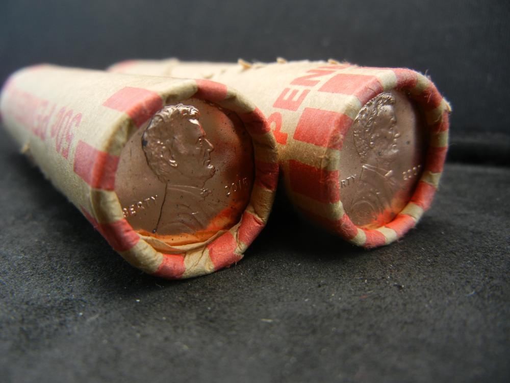 Lot 46A: Four (50) coin shotgun rolls of 2020, 10, 11, and 15 Philadelphia Lincoln Memorial Cents. Red Brilliant Uncirculated.