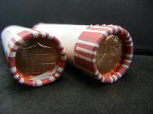 Lot 45A: Two (50) coin shotgun rolls of 2002-D and 2018-D Lincoln Memorial Cents. Red Brilliant Uncirculated.