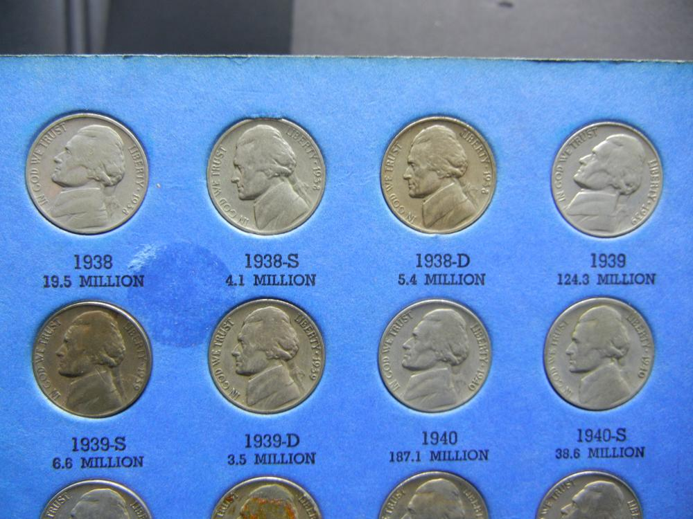 Lot 47A: Complete Jefferson Nickel set from 1938-1964-D. Circulated.