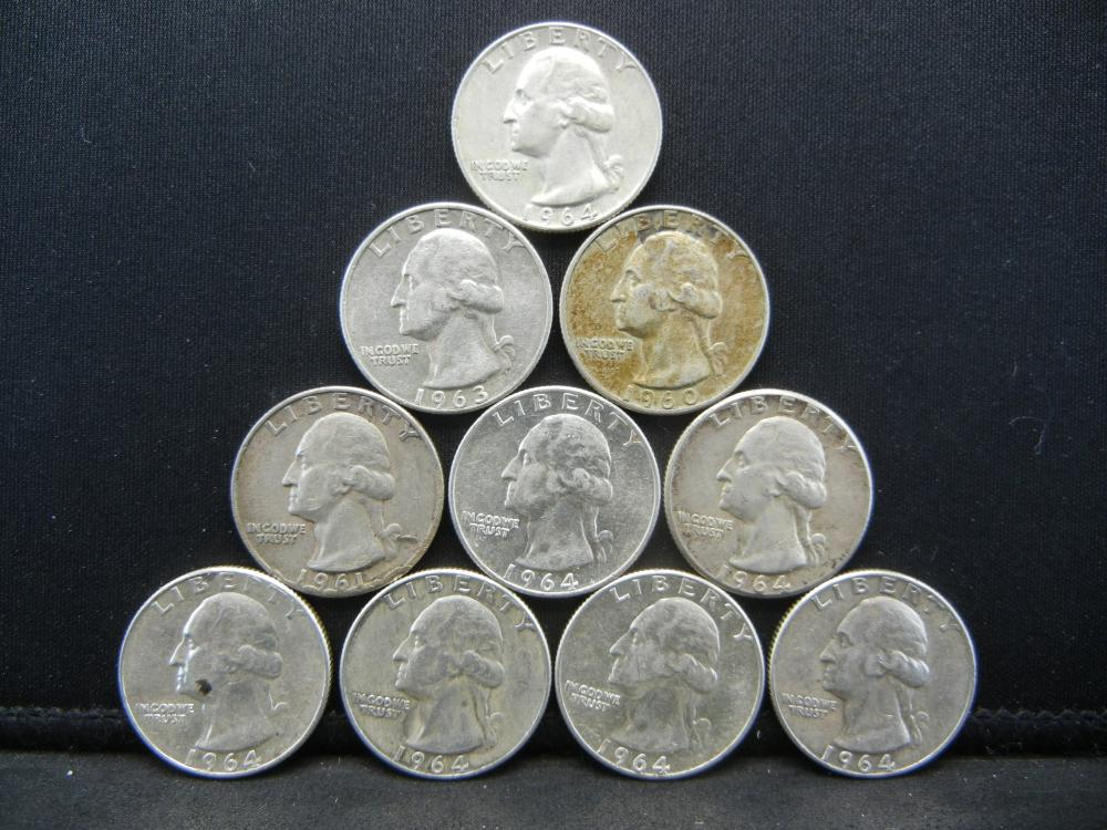 1960's Washington Silver Quarters - Lot of 10