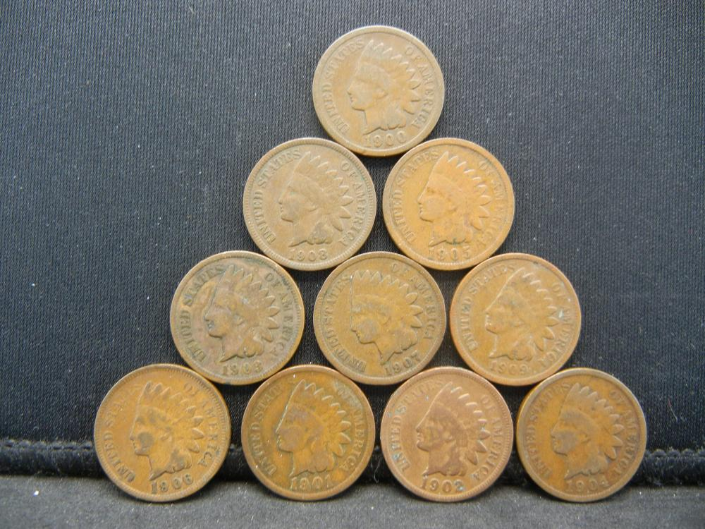 Lot 29Y: 1900 thru 1909 Indian Head Cents - 10 Consecutive Coins