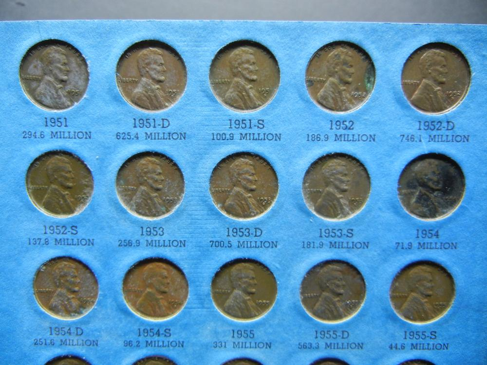 Lot 47: Complete Wheat Cent Set from 1941-58-D plus memorials through 1975-D. Circulated.