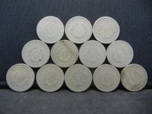 Lot 38Y: Lot of 12 V Nickels