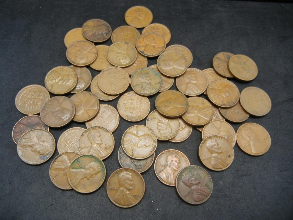 Lot 33Y: 1930's Roll of Wheat Cents - 50 Coins