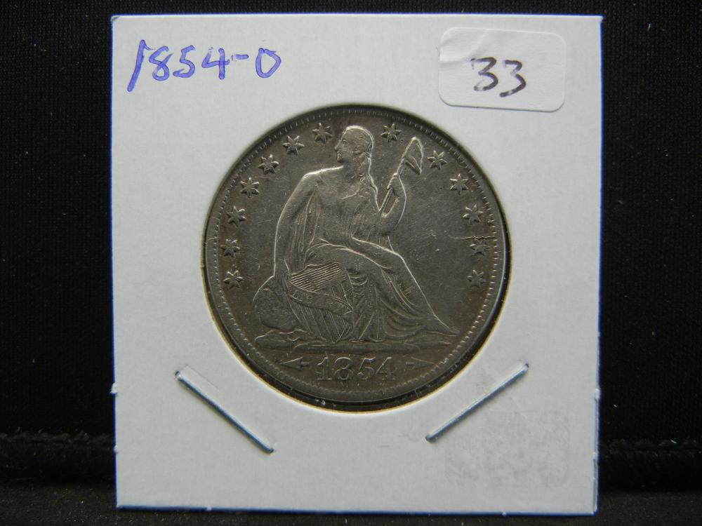 Lot 33: 1854-O Seated Half. Very Fine. Great Die Crack.