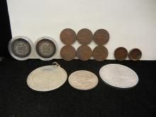 13 Foreign Coins & Tokens