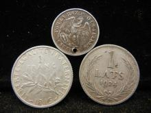 3 Foreign Coins 83.5% Silver