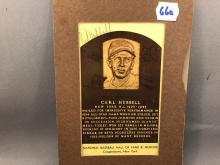 Carl Hubbel Autographed HOF Plaque Postcard - back of postcard is peeled away