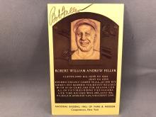 Bob Feller Autographed HOF Plaque Postcard - Handwritten note on back from Ann Feller - dated 1981