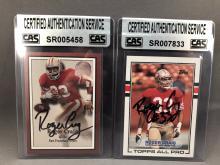 Roger Craig Lot of 2 Autographed Cards - CAS Authentication